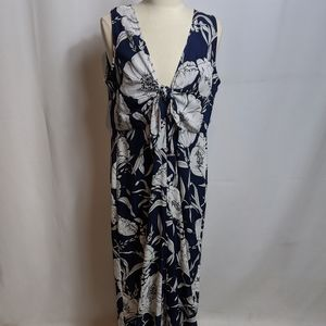 Lush Navy & White Floral Jumpsuit Large